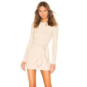 REVOLVE SUPERDOWN Dana Beige Wrap Mini Dress